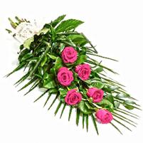 Buchet funerar trandafiri roz