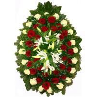 Coroana funerara trandafiri si crini