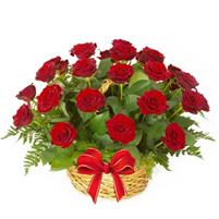 Cos clasic cu 29 trandafiri rosii