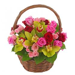 Cosulet tropical cu orhidee si trandafiri