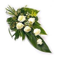 Buchet funerar trandafiri albi